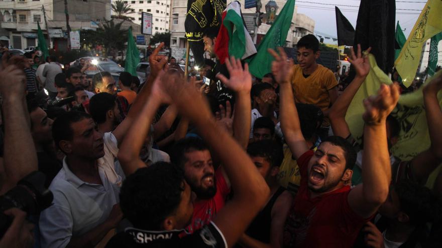 Palestinos celebran el alto el fuego en Gaza/ Foto: Majdi Fathi (Efe)