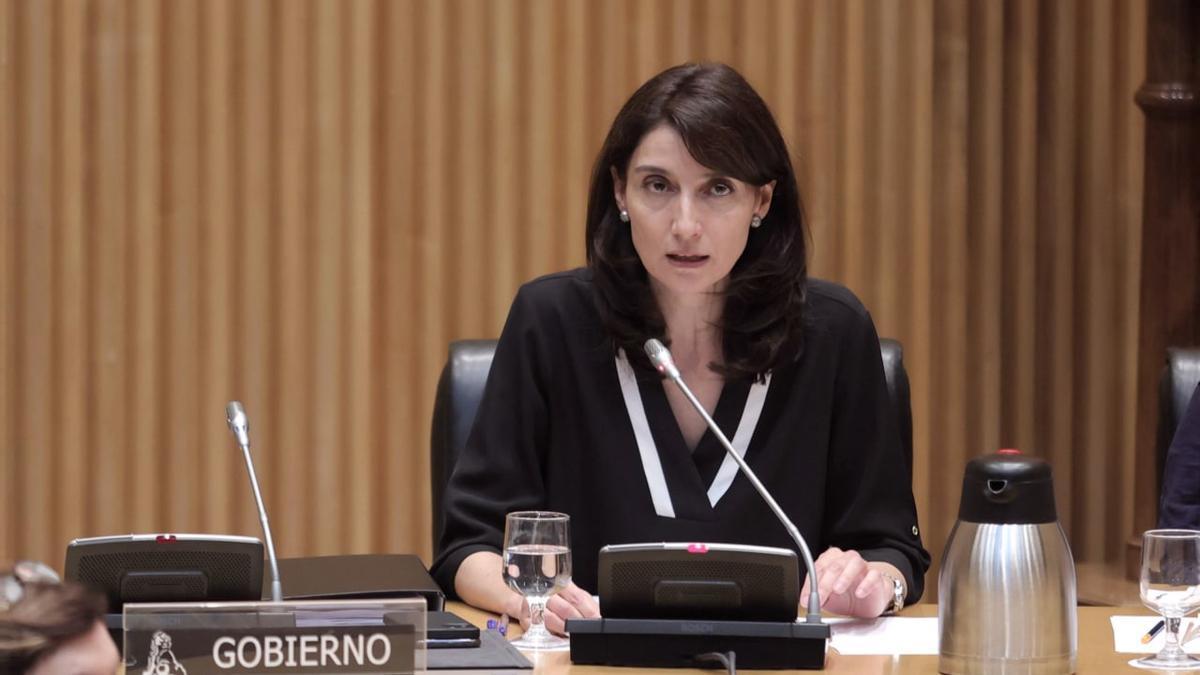 Pilar Llop durante su comparecencia en la comisión de Justicia del Congreso