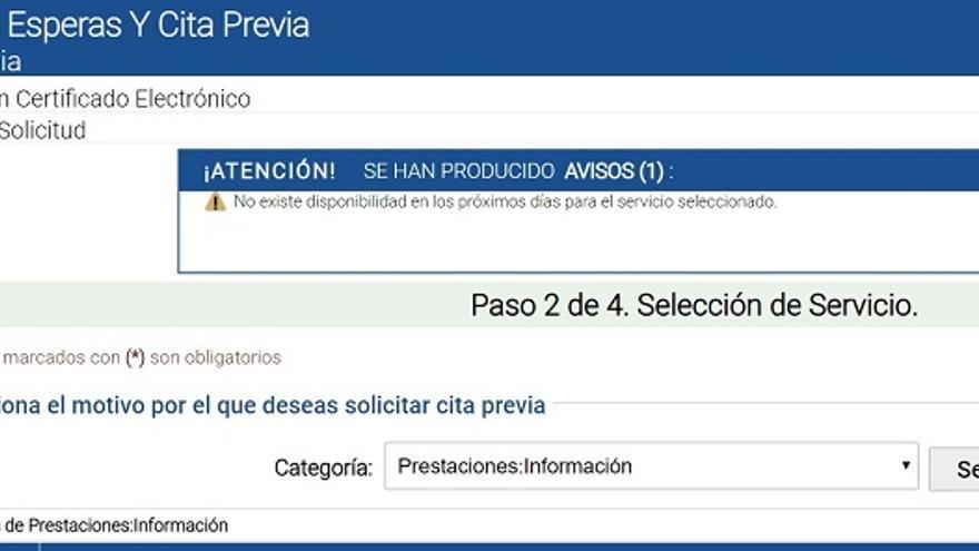 Mensaje del sistema al tratar de pedir hora en la Seguridad Social de Las Palmas.