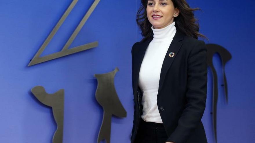 La portavoz de Ciudadanos en el Congreso,InésArrimadas,este lunes, a su llegada a la rueda de prensa.