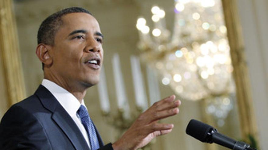Obama en el atril en la Casa Blanca