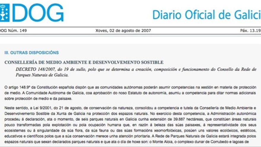 Decreto que reguló en 2007 el órgano rector de la red de parques