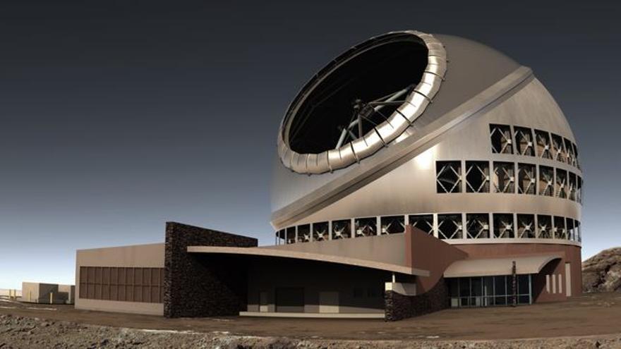 Recreación del Telescopio de Treinta Metros (TMT) al que aspira La Palma.