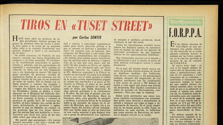 """Carles Sentís. """"Tiros en 'Tuset Street'"""". Tele/eXprés, Año 5, núm. 1171"""