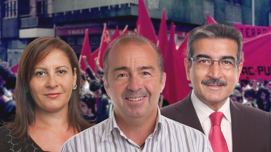 Claudina Morales, Francisco Déniz y Román Rodríguez, antiguos integrantes de MIRAC-PUCC-UNI.