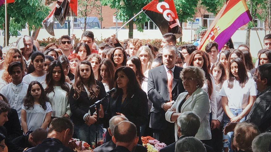 Anne Hidalgo en la inauguración del Jardín de los combatientes de La Nueve