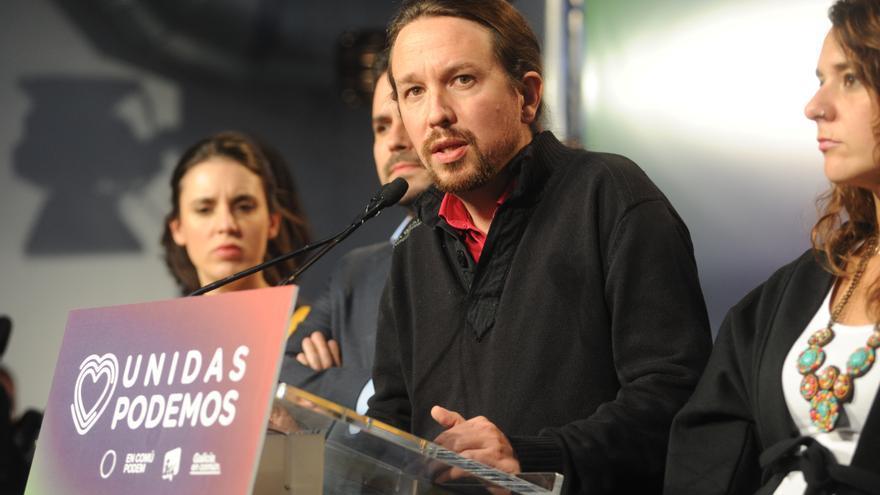 Pablo Iglesias, Alberto Garzón e Irene Montero, en la valoración de los resultados de Unidas Podemos.