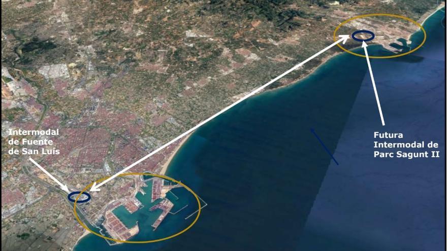 Proyección del trazado del tren lanzadera que discurriría por las actuales vías de la línea València-Sagunt, como alternativa al acceso norte submarino que plante el Puerto de València
