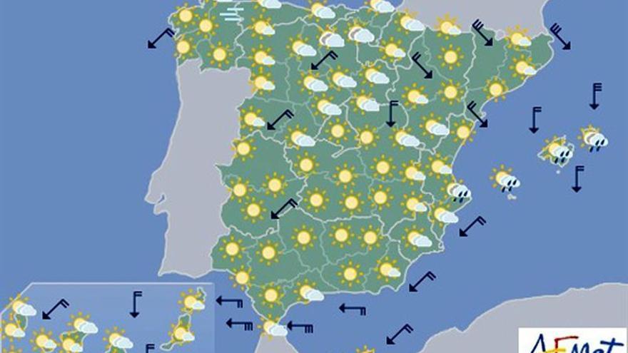 Suben las temperaturas mañana en la mitad norte, pero bajan en el sur