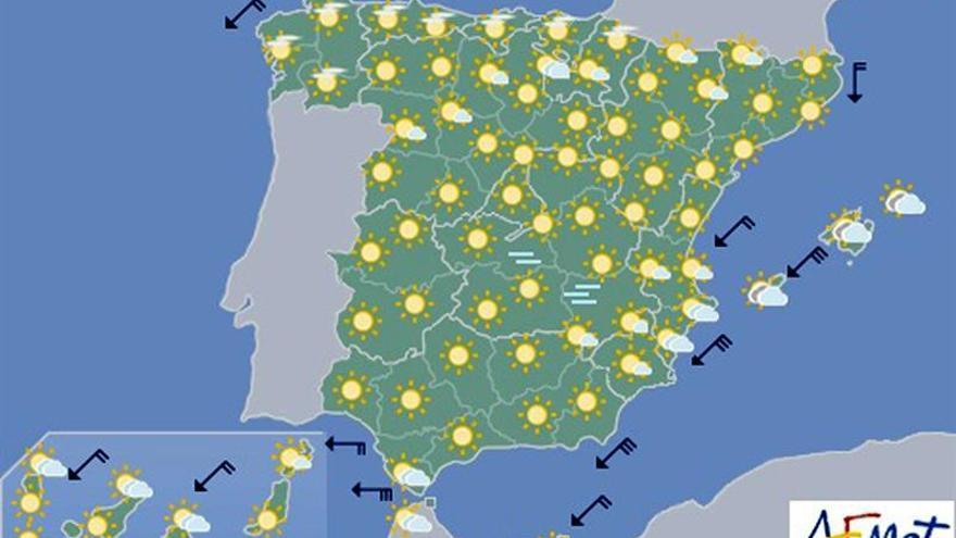 Hoy, viento fuerte en Baleares, litoral sur de Levante, Estrecho y Melilla