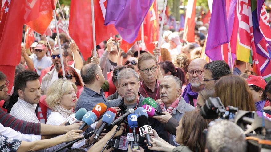 Los secretarios generales de CCOO y UGT, Unai Sordo y Pepe Álvarez en la manifestación del 1 de Mayo