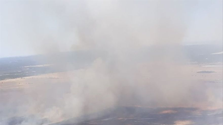 Imagen del incedio en el entorno de Doñana que ha tenido lugar en la tarde del lunes /Foto: INFOCA