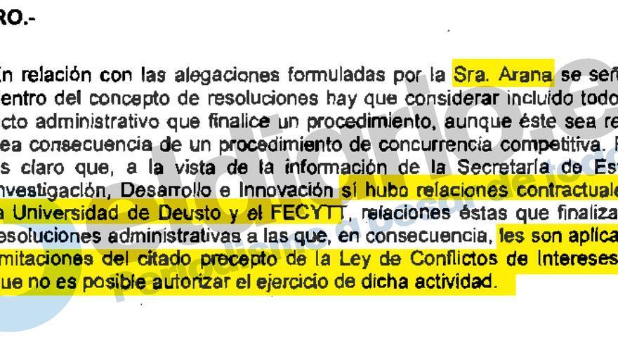 Argumentación de la Oficina de Conflicto de Intereses para negar la compatibilidad a Lourdes Arana para trabajar para la Universidad de Deusto