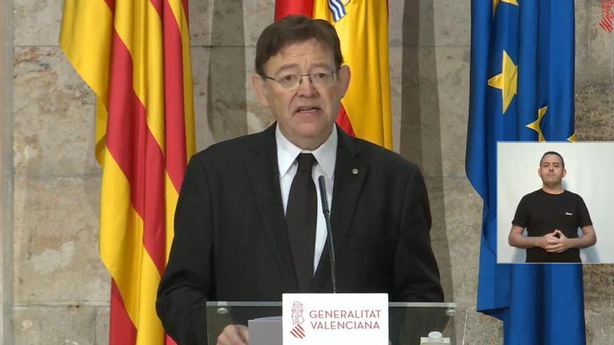 El presidente de la Generalitat, Ximo Puig, en la rueda de prensa posterior a la reunión entre los presidentes autonómicos y Pedro Sánchez.