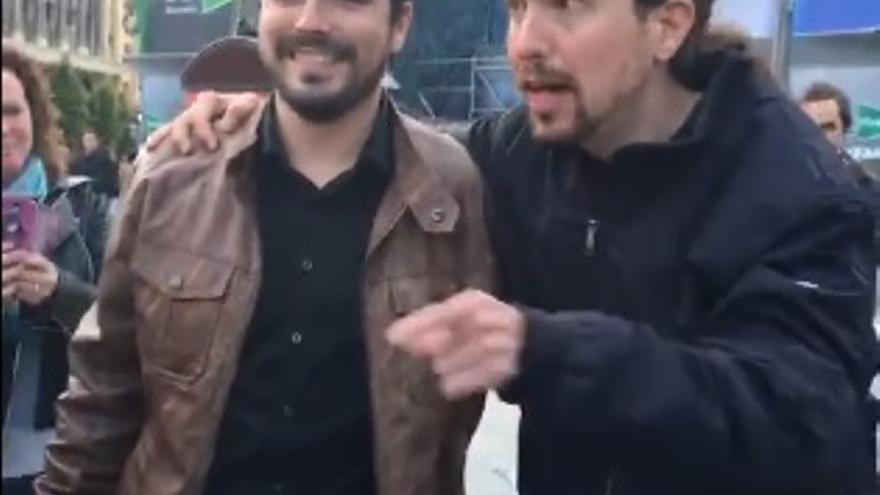 Alberto Garzón y Pablo Iglesias anuncian su acuerdo para el 26J