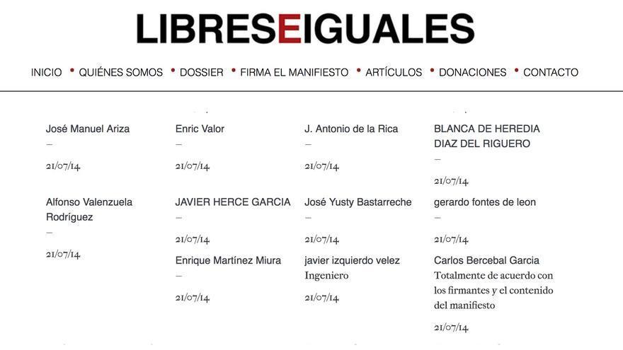 Firma del magistrado Yusty Bastarreche en la web de Libres e Iguales.