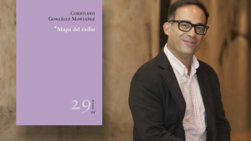 El poeta Coriolano González junto a la portada de su libro.