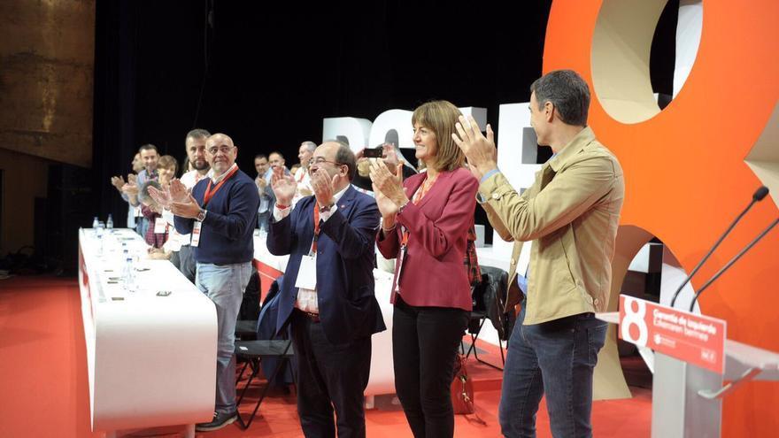 Iceta, Sanchez y Mendia, en el VIII Congreso del PSE-EE