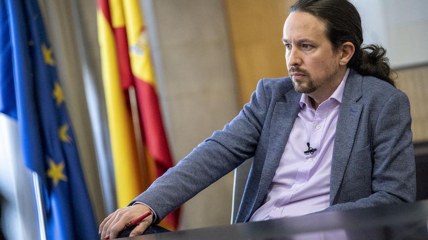 El vicepresidente segundo del Gobierno, Pablo Iglesias, en su despacho, el 3 de abril de 2020.