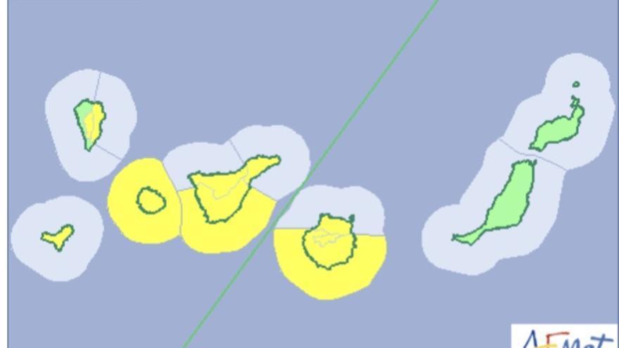 Mapa del aviso de la Aemet de riesgo por viento este martes, 20 de marzo de 2018.