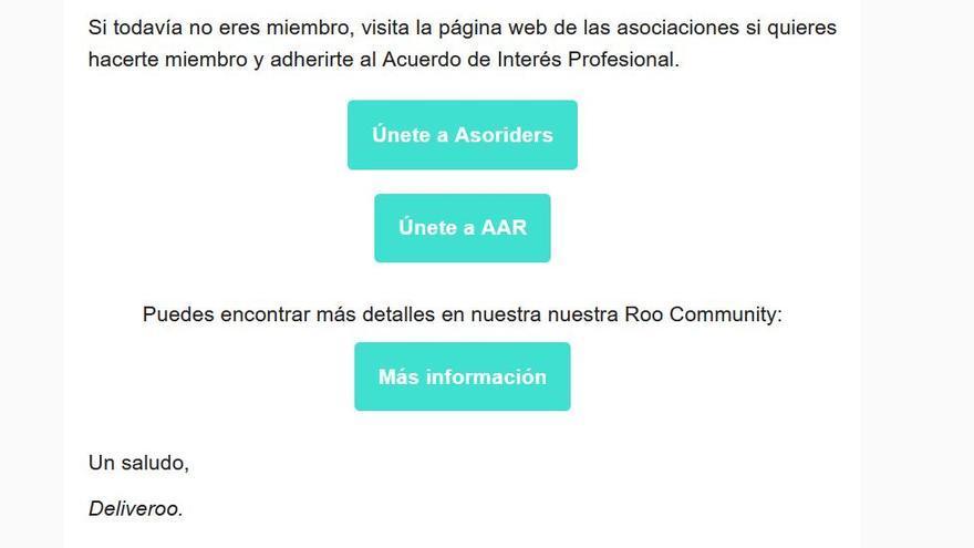 Captura del email de Deliveroo a sus 'riders' en el que promociona el acuerdo con estas dos organizaciones de mensajeros.