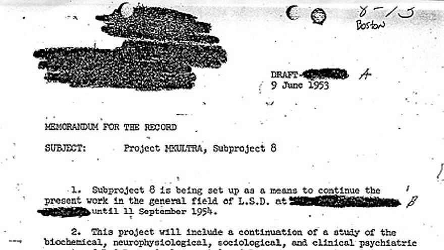 Documento de la CIA en el que se demuestra la existencia del programa MKULTRA.