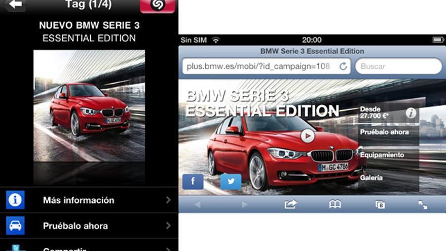 Elementos complementarios vía Shazam de un anuncio de BMW