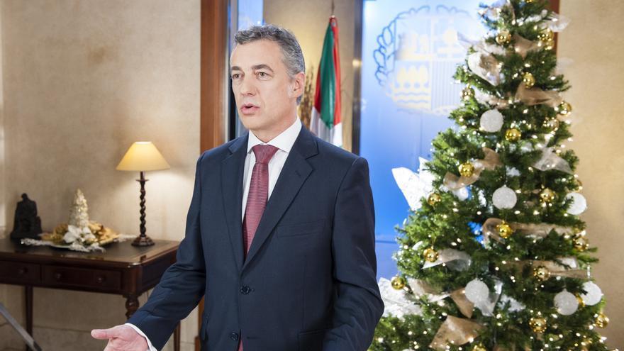 El lehendakari, Íñigo Urkullu, en el mensaje de Fin de Año emitido este martes por ETB. /IREKIA