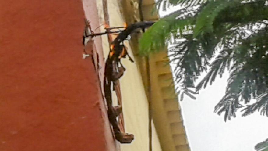 En la imagen, el cable en llamas del tendido eléctrico. Foto: JOSÉ F. AROZENA.