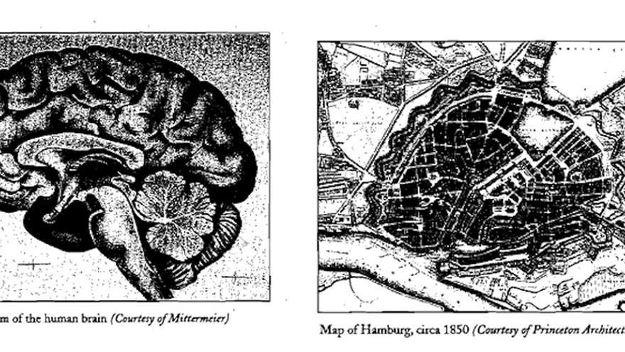 Una mapa de Hamburgo (Alemania) y un cerebro