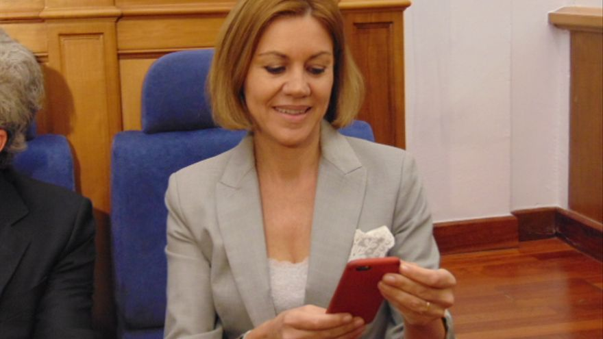 María Dolores de Cospedal, en las Cortes de Castilla-La Mancha