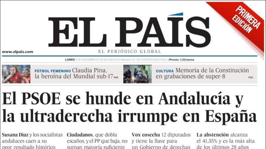 Portada de 'El País' del 3 de diciembre