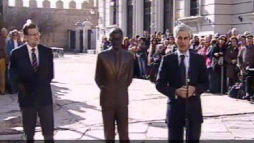 Rajoy, junto a Adolfo Suárez Illana. / PP