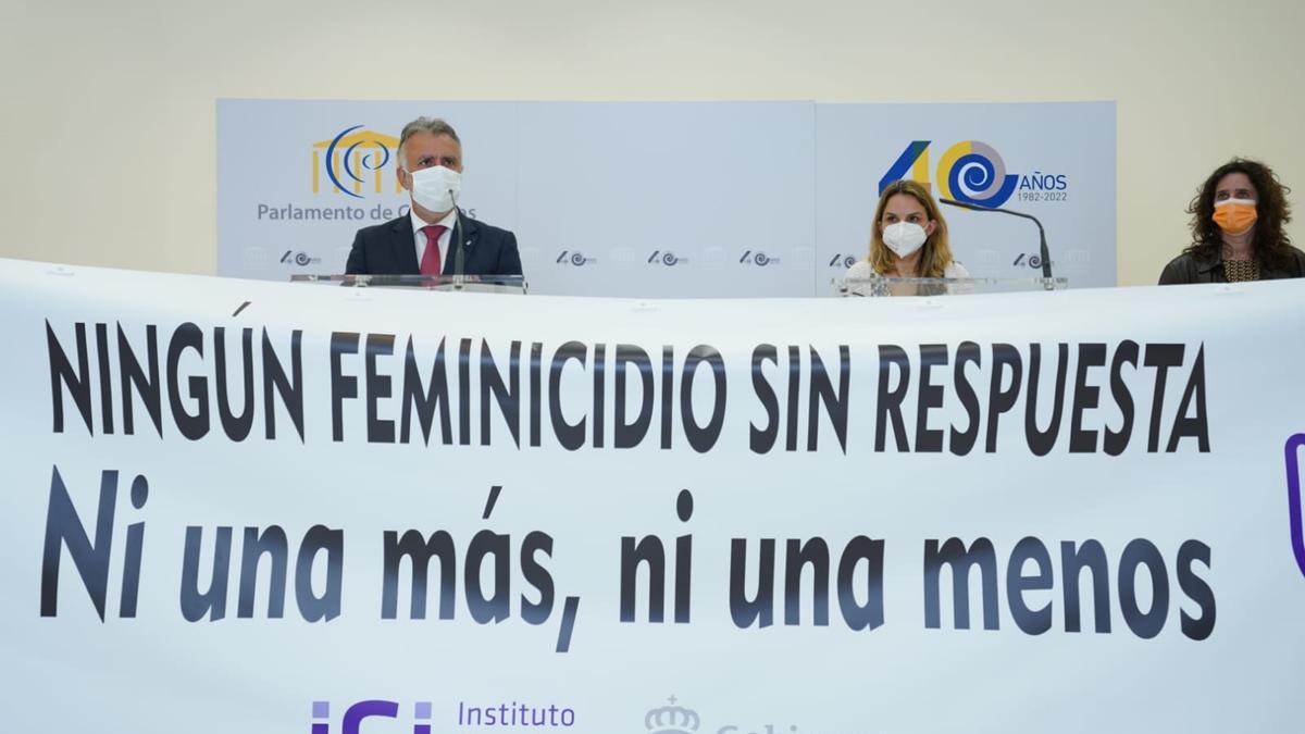 Concentración en el Parlamento de Canarias contra la violencia machista.