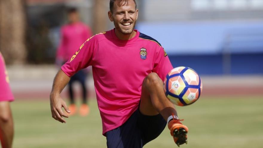 Dani Castellano durante un entrenamiento (UD Las Palmas)