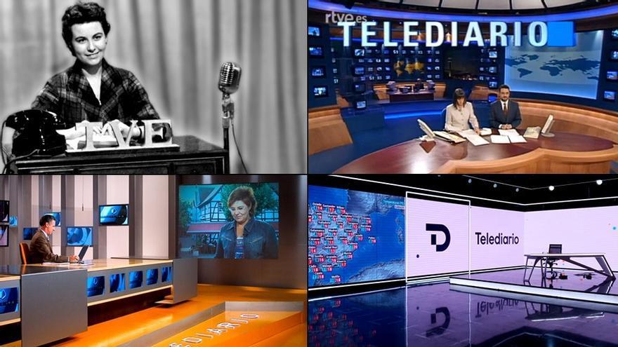 Diferentes momentos de la historia del 'Telediario' de TVE