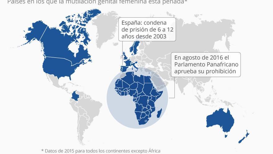 Nuevo mapa de los países que castigan la ablación