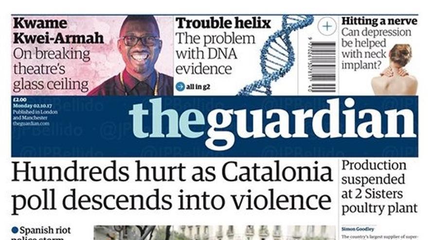 Portada de The Guardian de este 2 de octubre de 2017.