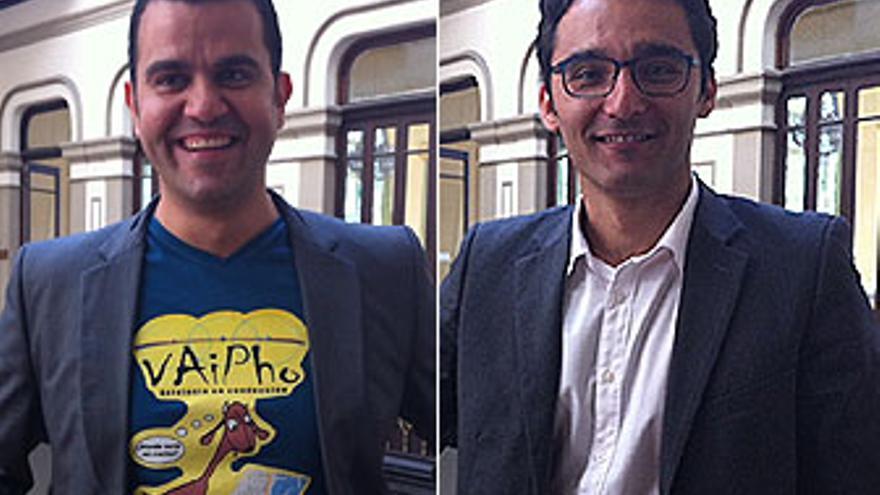 Cándido y Sergio, este martes en el Gabinete Literario de LPGC.(A.G.)