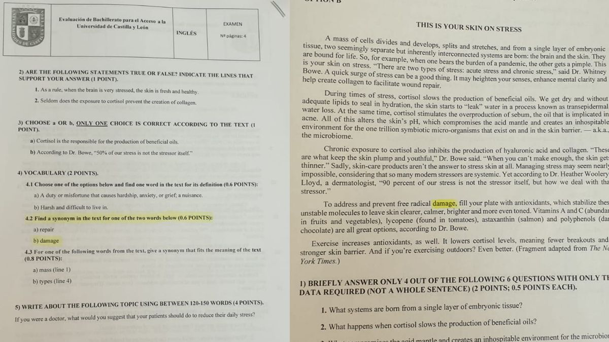 Error en el examen de inglés de la EBAU de Castilla y León.