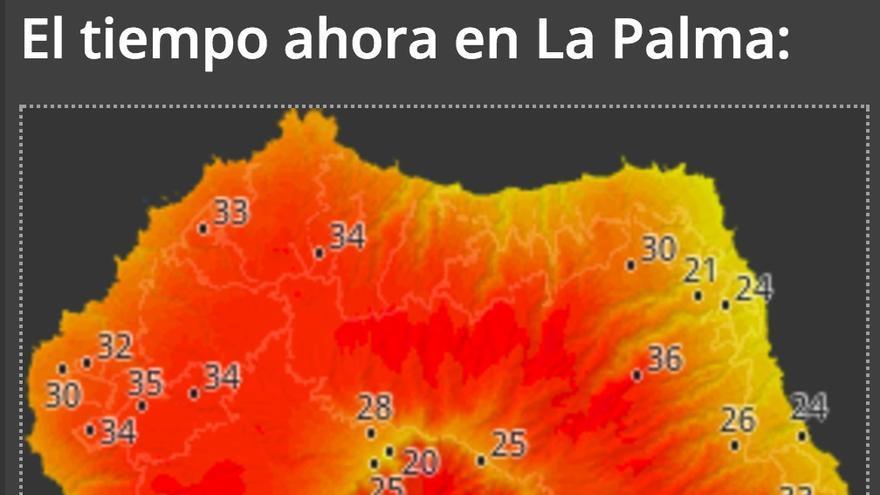Mapa de 'HD Meteo La Palma del Cabildo' con los datos de la temperatura que ha registrado este jueves, en torno a las 13:20 horas, en la Isla.