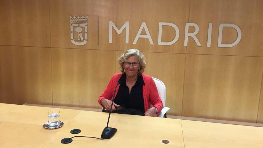 Manuela Carmena, en la rueda de prensa en la que ha anunciado que vuelve a presentarse en 2019. / Fátima Caballero