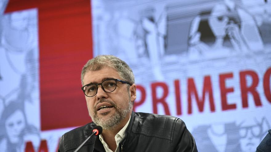 El secretario general de CCOO, Unai Sordo, presenta en rueda de prensa los actos y manifestaciones para el 1º de Mayo, Día Internacional de los Trabajadores 2019.