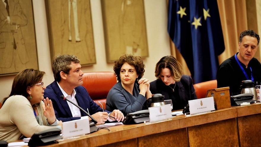 Gloria Elizo, Carol Proner, Lindbergh Farias y Martín Arroyo, durante la conferencia.