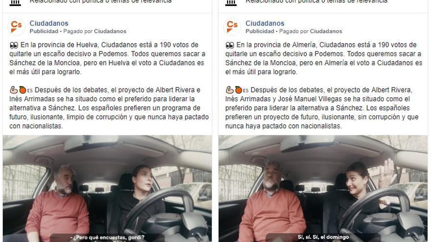 """Los anuncios que Ciudadanos mostró en Huelva y Almería dicen estar """"a 190 votos de quitarle un escaño decisivo a Podemos"""""""