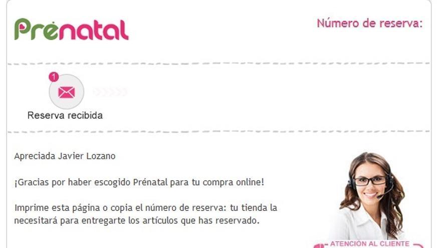 Pantallazo de la respuesta enviada por Prenatal.