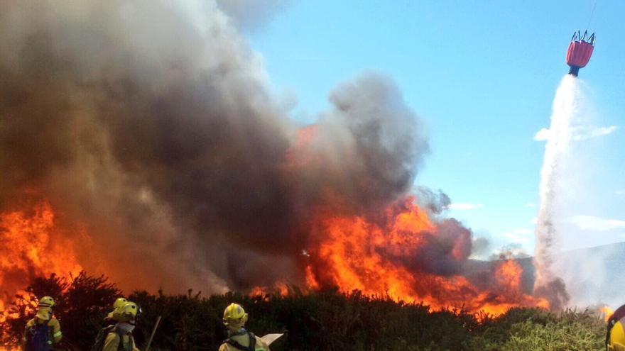 Extinción de un incendio forestal en Verín (Ourense)