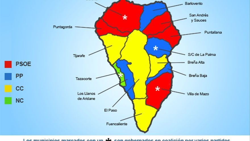Mapa político de la isla de La Palma.