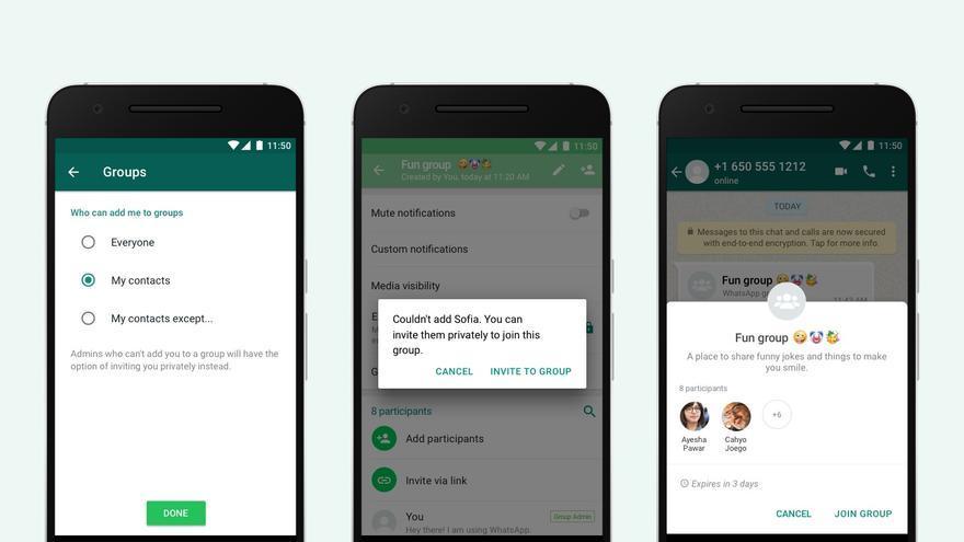 Nuevas opciones de privacidad en los grupos de WhatsApp