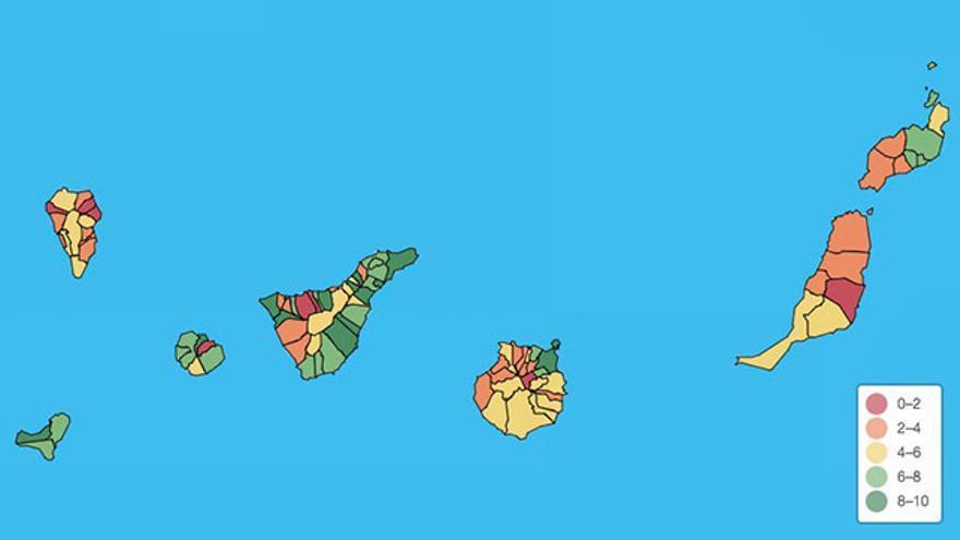 Mapa de transparencia de los ayuntamiento de Canarias de 2018.